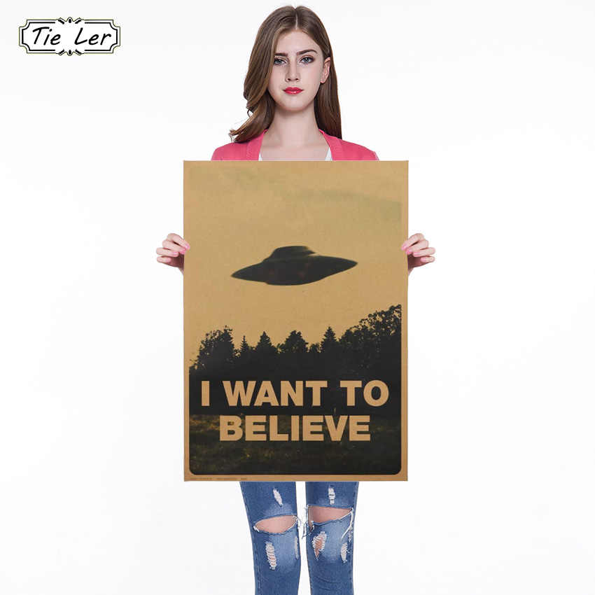 1PC Vintage Classic Movie The Poster I Want To Believe Poster Bar Home Decor Kraft Paper Painting Wall Sticker 51.5X36cm