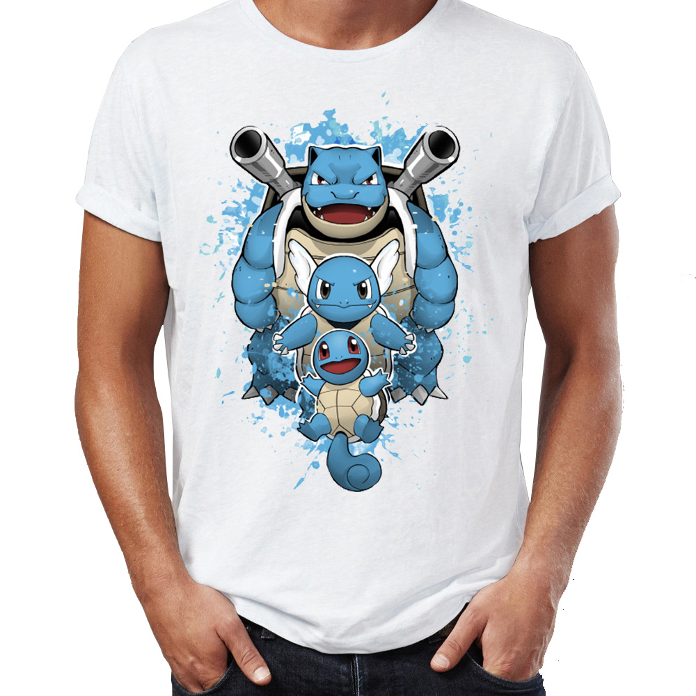 hot-men's-t-shirt-water-type-font-b-pokemon-b-font-wartortle-blastoise-squirtle-watercolor-artsy-awesome-artwork-printed-tshirt-tees-tops