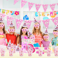 16pcs/set Princess Crown Theme Party Supplies Baby Shower Birthday Party Decoration Plates Cups Banner Straw Invitation Card