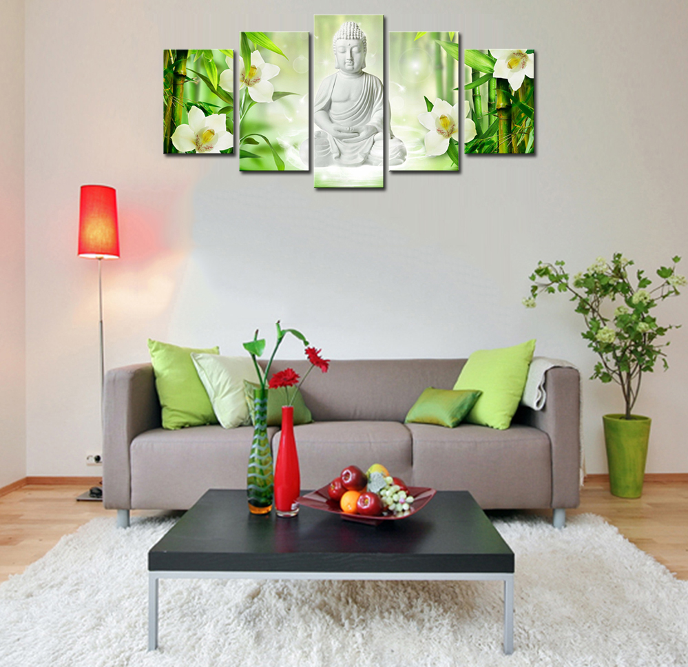 5 Pieces White Buddha Canvas Wall Art Framed Painting For living ...