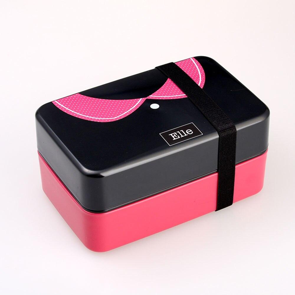 Контейнер Bento для обеда контейнеры для обедов кухонные принадлежности 730 мл двухслойный модный пластиковый Ланч Бокс портативный изолированный ланч - Цвет: 1