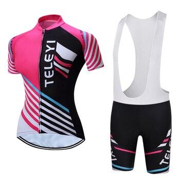Ropa ciclismo 2017 TELEYI Novo Roupas de Ciclismo Mulheres Verão Estilo Respirável Mtb bicicleta Ciclismo Jersey Bicicleta bib shorts set