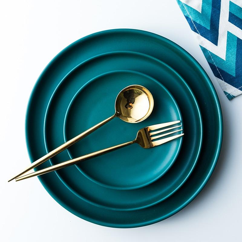 >NIMITIME European <font><b>Style</b></font> <font><b>Nordic</b></font> matte <font><b>Ceramic</b></font> Western Dinner Plate Dark Green Round Plate Household Steak Dinner Plate