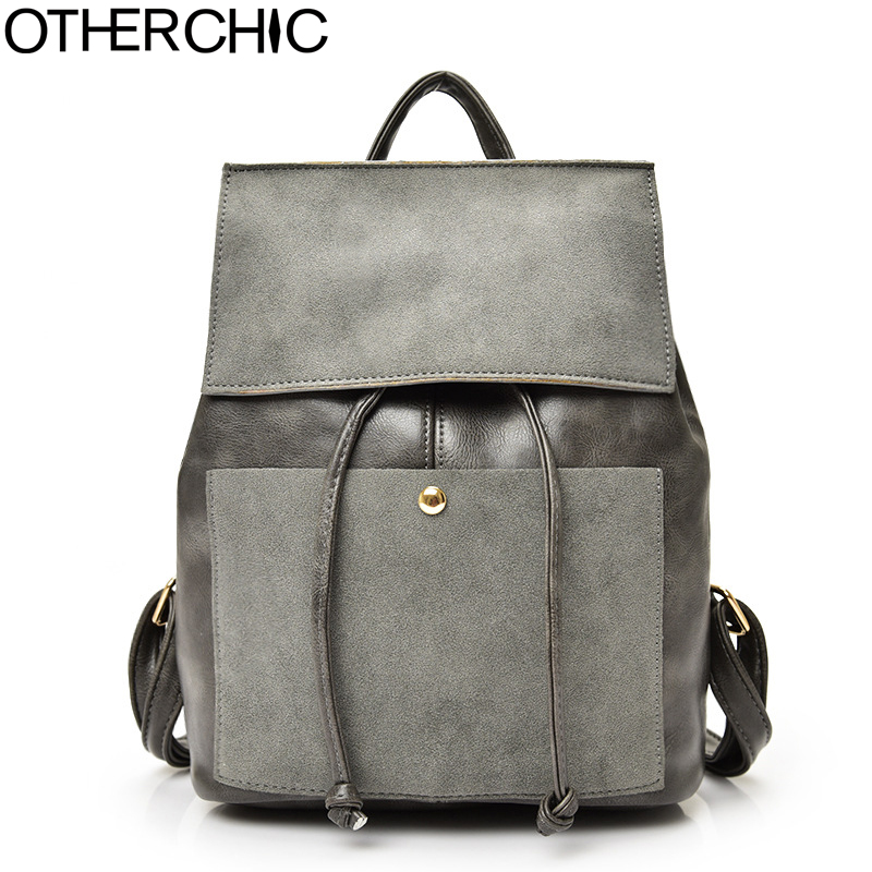 OTHERCHIC Nubuck Leather Women Backpack Vintage Drawstring Backpack Girls Casual Preppy Haversack Sac A Dos Femme