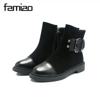 FAMIAO Women Boots Round Toe Zapatos Mujer Flat With Women Shoes Buckle Autumn Ankle Boots For