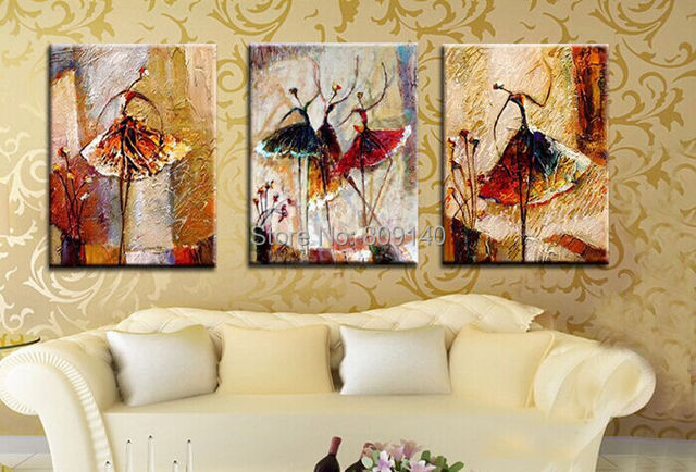 Stretched Abstract Girl/Lady Ballet Dancing Portrait oil painting ...