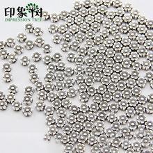 Металлические бусины в форме цветка, 50 шт./партия, 6 мм, промежуточные бусины серебристого оттенка россыпью для изготовления браслетов, аксессуары ручной работы, модель 804