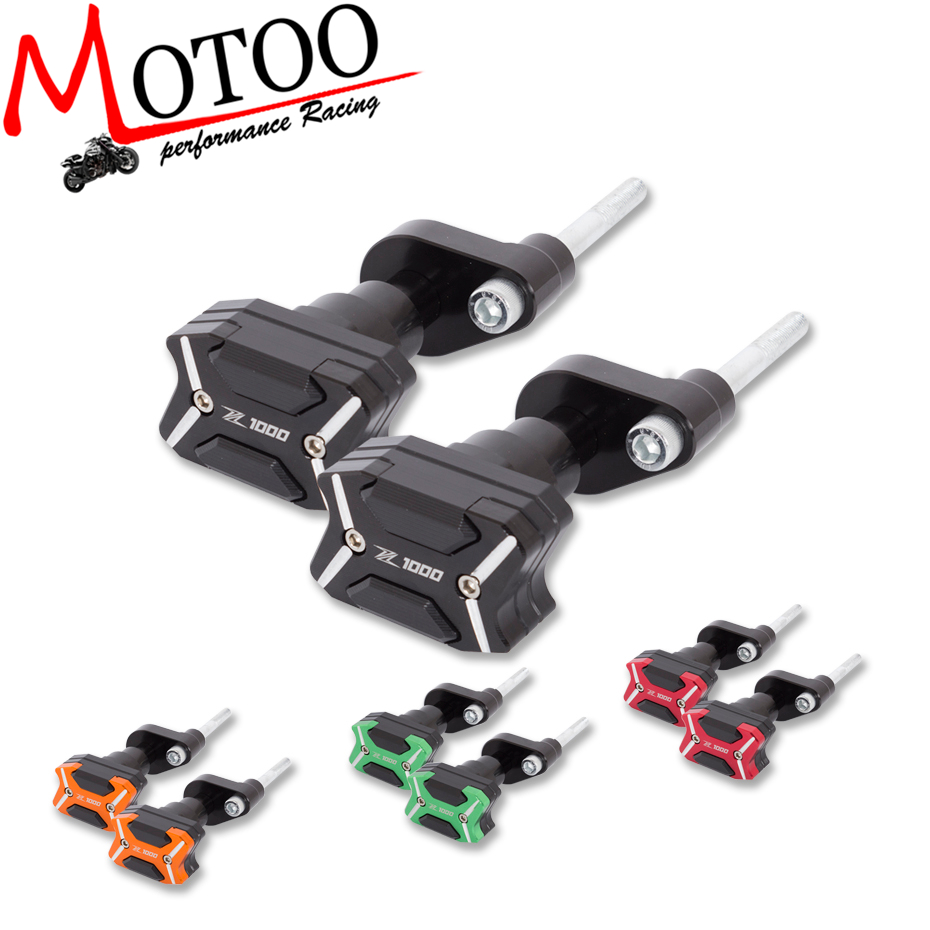 Motoo - Motorcycle CNC Crash Pad Frame Slider Protection Guard For KAWASAKI Z1000 Z 1000 2010 2011 2012 2013 2014 2015 2016 2017 bjmoto cnc aluminum motorbike accessaries motorcycle engine guard cover pad for kawasaki z1000 r 2010 2011 2012