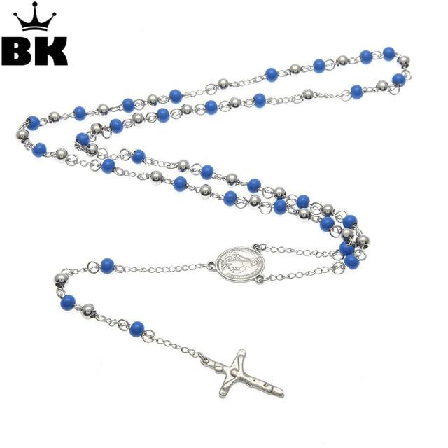 9d9c70d8f Deep Blue Bead Rosary Necklace NEW Catholic Saint Virgin Mary Rosary Silver Plated  Jesus Crucifix Cross Pendant