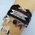 2015 Mulheres Pulseira exaggerated crown charm mysterious temperament arrow bicycle form a variety of style leather bracelet