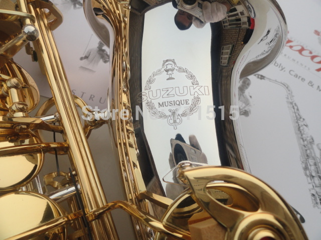SUZUKI Alto Eb Saxophone Brass Musical Instruments Falling Tune E(F) Silver Plated Surface Gold Key With Case Mouthpiece