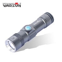 WARSUN USB-Lighter 3 Modes Zoomable Lanterna Led Tactical Flashlight Outdoor Camping Torch Zaklamp Gladiator Flashlight