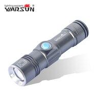WARSUN USB Lighter 3 Modes Zoomable Lanterna Led Tactical Flashlight Outdoor Camping Torch Zaklamp Gladiator Flashlight