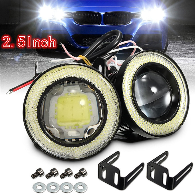2Pcs 2.5/3.5 Inch 64mm/89mm Projector COB LED Car Fog Light Halo Angel Eyes Rings DRL White 12V Road Fog Lamp Universal 2x 3 inch 76mm round led cob projector fog light lamp bulbs with green angel eyes halo ring drl daytime running lamp car auto