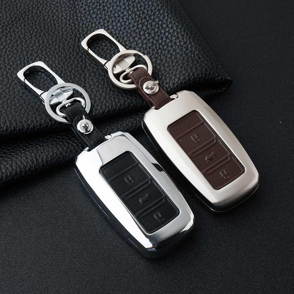 ATOBABI Zinc Alloy+ Leather Fob Key Cover Case For Changan Eado CS35 Raeton CS15 V3 V5 V7 Key Keychain Car styling wiht Key ring