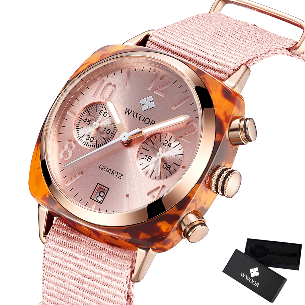 fa8a3a034f860 Rose Sangle En Nylon Style Quartz Femmes Montres WWOOR Top Marque Casual  Chronographe De Mode Montre