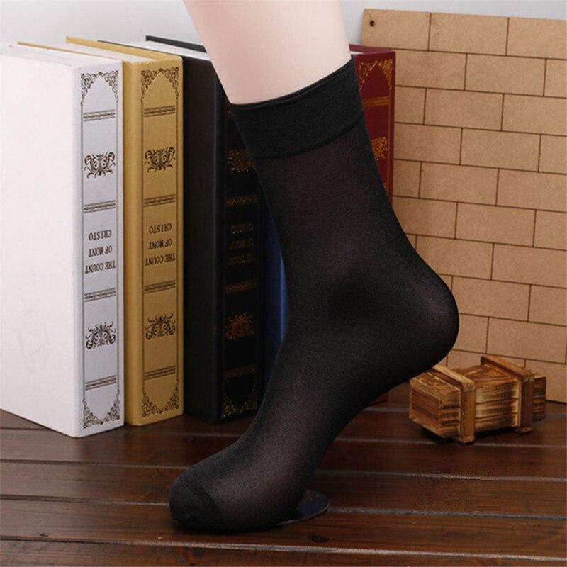 2017 Men Socks 10 Pairs/Lot High Quality Brand Men Business Casual Black Silk Socks Spring Summer Male Black thin Socks FT108