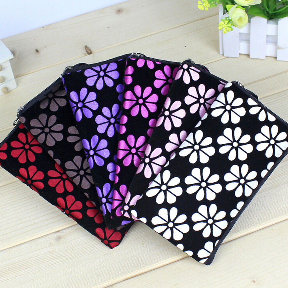 Purse Small Wallet Clutch-Bag Fabric Flower-Print Mobile-Phone Zipper Fashion Square