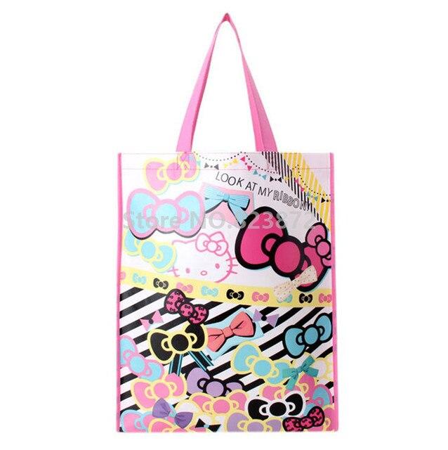 6c986f40d3 Cute Cartoon Hello Kitty Cat Plastic Woven Bag Eco Reusable Shopping Bag  Pink Large Tote Handbag Gift Bag With Handles