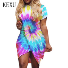 KEXU Plus Size 3XL Women O-neck Short Sleeve Vintage Mini Dress New Tie Dyed Print Sexy Dress Femme Hollow Out Retro Club Wear цена 2017