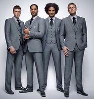 Latest Coat Pant Designs Grey Wedding Suits For Men Formal Groomsman Custom Blazer Slim Fit 3