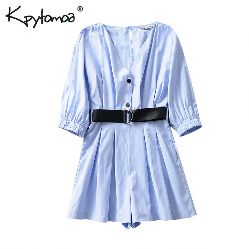 Vintage Stylish Buttons With Belt Playsuits Women 2019 Fashion Three Quarter Sleeve Pockets Short   Jumpsuits   Casual Body Femme