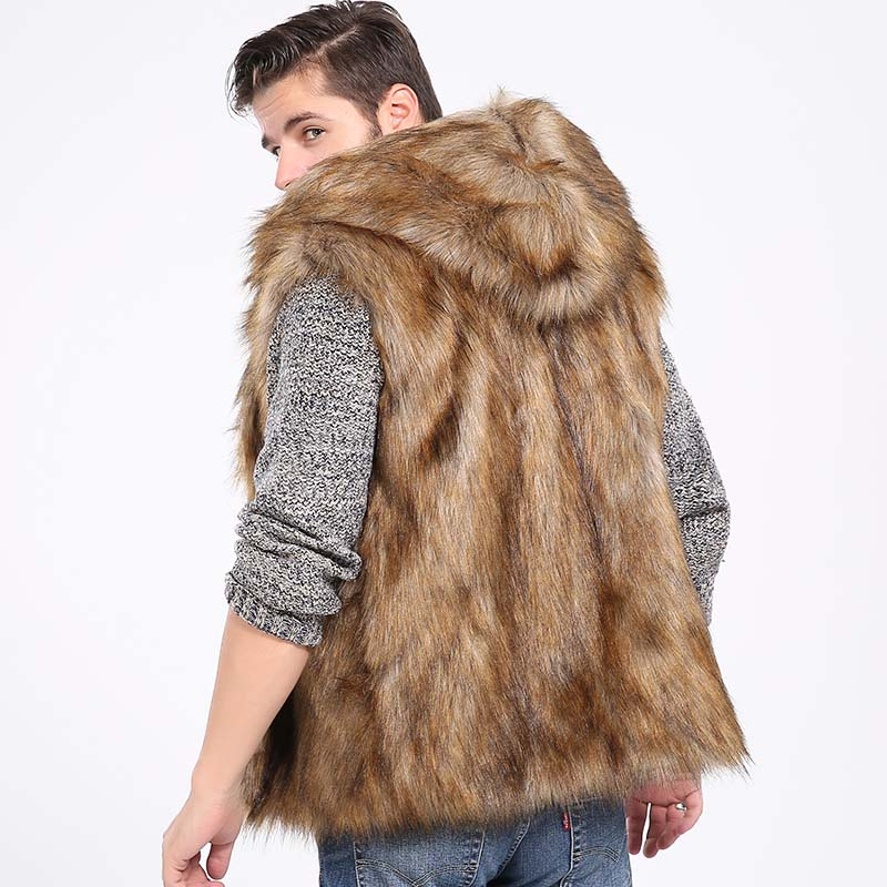 6b19cf77ca3 Faux Fur Vest Hoodie Hooded Waistcoats Men Winter Thicken Warm Hairy  Sleeveless Pocket Coat Outerwear Jacket Plus Size 3X 6Q2041-in Vests    Waistcoats from ...