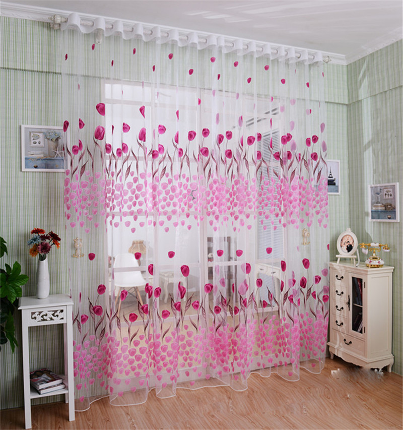 Tulip Print Window Screening Tulle Blinds Voile Gauze Curtains Light ...