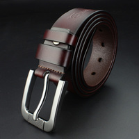 SHARONDS 100 Stylish Belts Men Coffee Brown Belt Cowboy Genuine Leather Smooth Buckle Wedding Casual Jeans