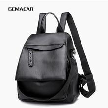 купить Pu Leather High Quality Female Backpack Fashion Plain School Bags For Teenager Girls Casual Women Backpacks по цене 978.09 рублей