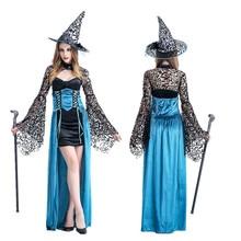 Nueva llegada de halloween traje de la bruja de la señora cosplay largo femenino juegos de rol partido dress up costume b-4915