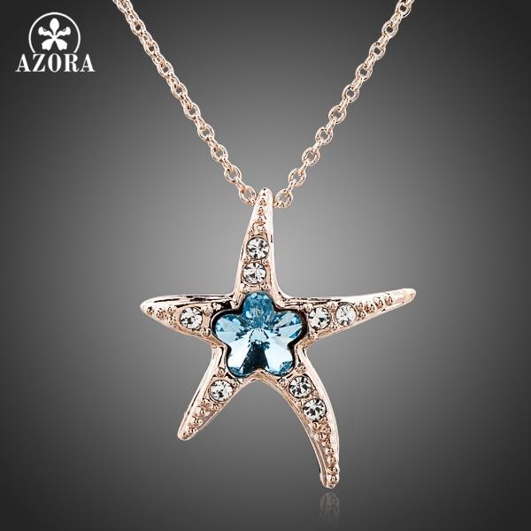 AZORA Starfish with Blue Wintersweet Rose Gold Color Stellux Austrian Crystal Pendant Necklace TN0084 купальник слитный женский lowry цвет голубой lss 22 размер 3xl 52 54