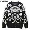 Men's wool sweater black with white Geometric patterns o neck pullover sweater DS059