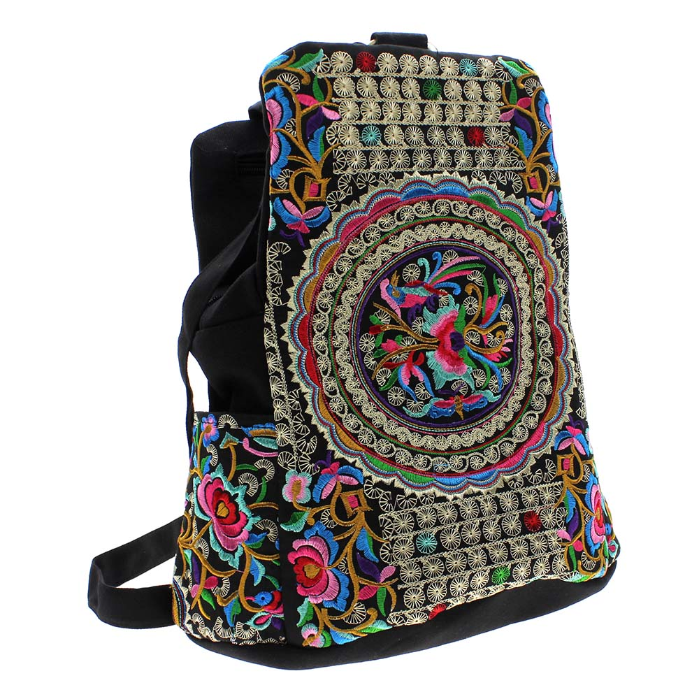 China National Trend Tribal Canvas Flower Embroidery Ethnic Handmade Backpack Nappy Bags