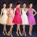 ZX518#Wholesale custom 2016 spring summer new short halter dress bride toast red wedding bridesmaid dress show bra