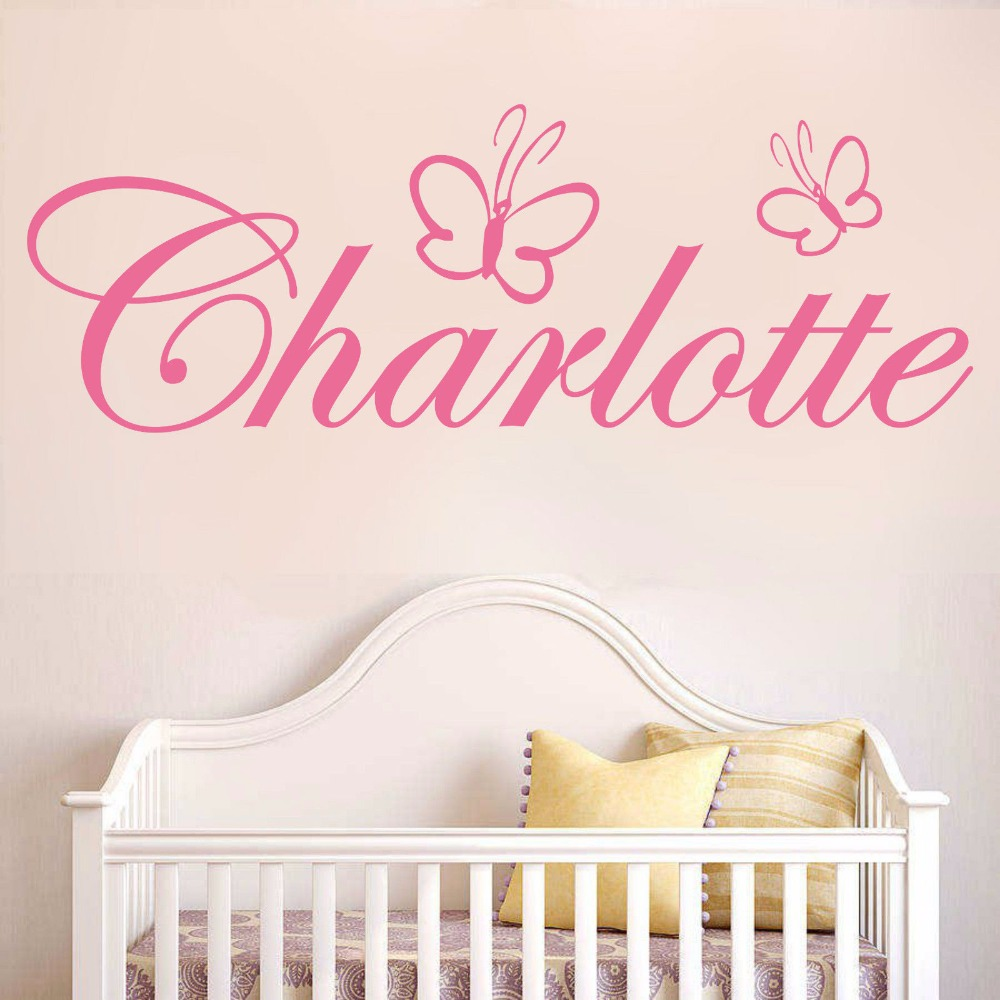 US $2.39 |WXDUUZ Custom name butterfly girls bedroom home decor Wall  sticker wall decals Art Home Decor Nursery Kids Room Wall Decor P15-in Wall  ...