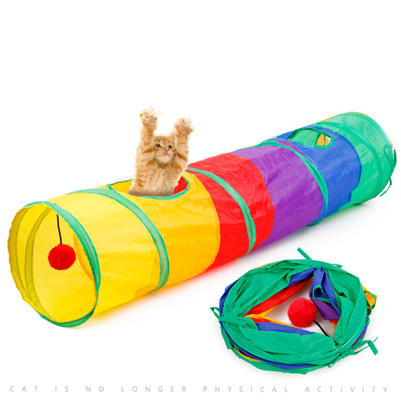 Interessante Tunnel Tent Training Kat Agility Opvouwbare Pet Agility Training Levert Regenboog Stiksels Kat Tunnel Speelgoed