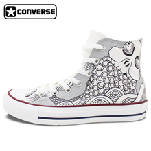 White High Top Converse All Star Men Women Shoes Fish Totem Design Custom Hand Painted Sneakers