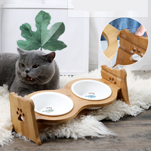 Pet Bowl Dogs Cats Ceramic Bamboo Cat Food Ear Double Feeder Water Dog Supplies Feeding Drinking Container