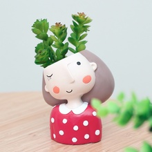 Vetplant Pot Leuk meisje Bloem Planter Bloempot Ontwerp maken Mooie kleine prinses Huis Tuin Bonsai Potten