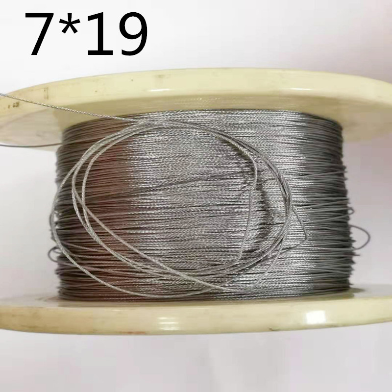 2mm/2.5mm/3mm Diameter 10M 7X19 304 Stainless Steel Wire Rope Softer Fishing Cable Clothesline Traction Rope Lifting Lashing