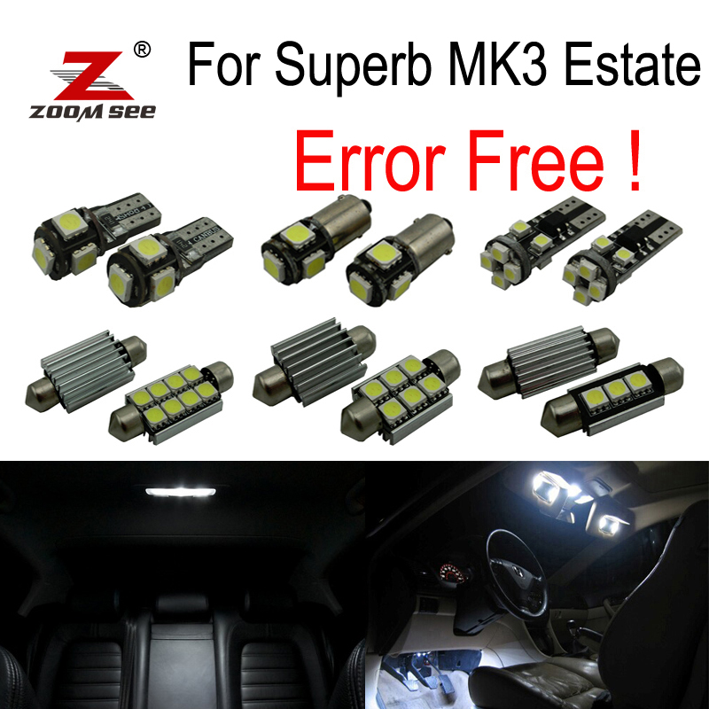 23pcs license plate lamp LED bulb Interior dome Light Kit for Skoda Superb 3 MK III 3V5 Estate  (2015+) cawanerl car canbus led package kit 2835 smd white interior dome map cargo license plate light for audi tt tts 8j 2007 2012