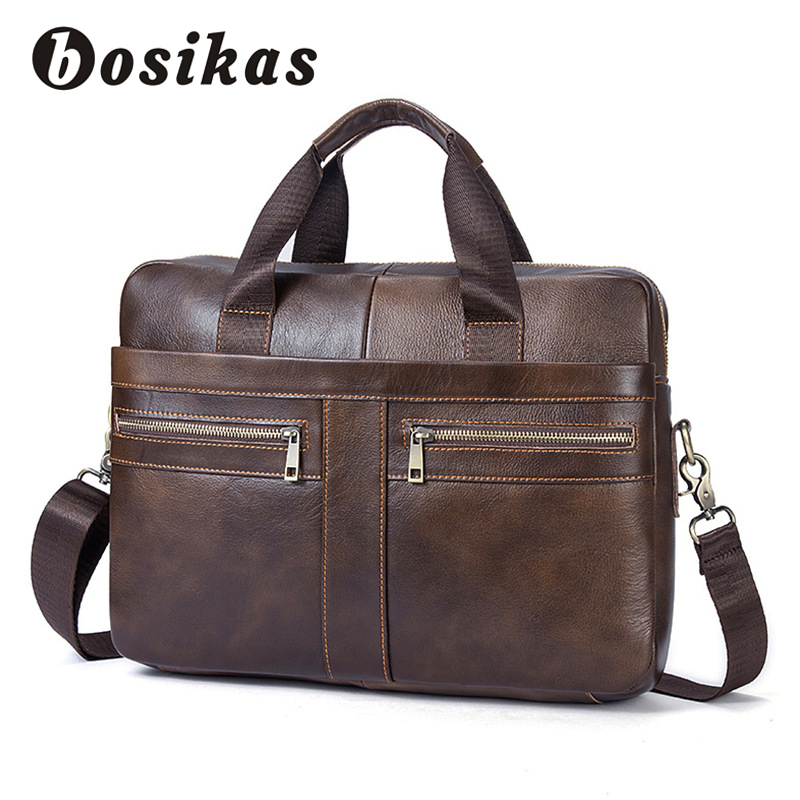 купить BOSIKAS Men's Briefcase Male Messenger Shoulder Bag Genuine Leather Men HandBags Vintage Man Business Crossbody Document Bags недорого