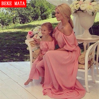 BEKE MATA Mother Daughter Dresses 2017Summer Chiffon Matching Mother Daughter Clothes Short Sleeve Family Look Mom