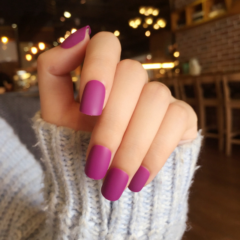 Frosted Darken Purple Fake Nails Matte Short Acrylic Nail Art Tips ...