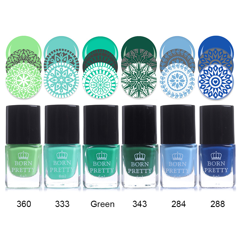 BORN PRETTY Nail Stamping Polish 6ml Colorful Lacquer Plate Printing Vanish 24 Colors Manicure Stamping Oil