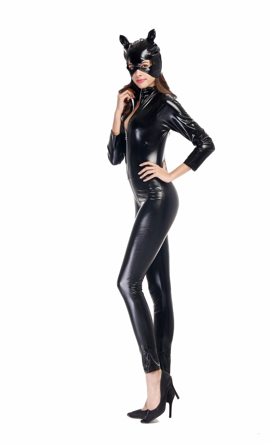 Sexy Women Leather Catwoman Costume-2890
