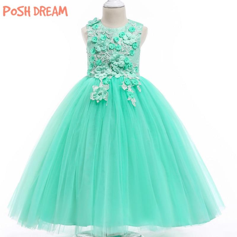 POSH DREAM Princess Mint Green Flower Girls Tutu Dress for Wedding Party Aqua Green Children Flower Kids Tutu Dress Kids Clothes