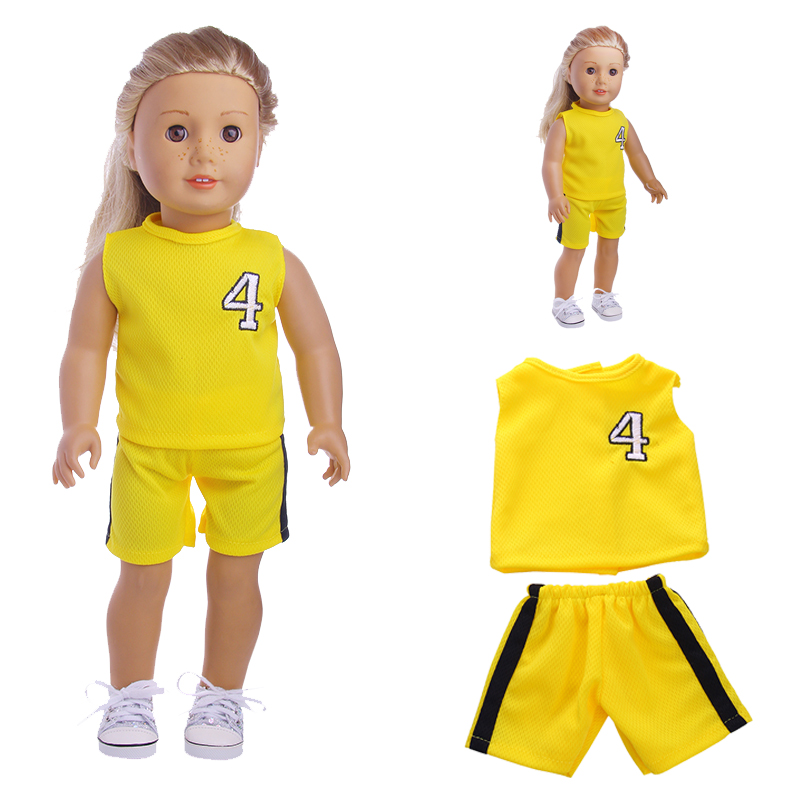 New Fashion Doll Clothes Yellow Sports Suit For 18 Inch  ,Children Best Birthday Gift