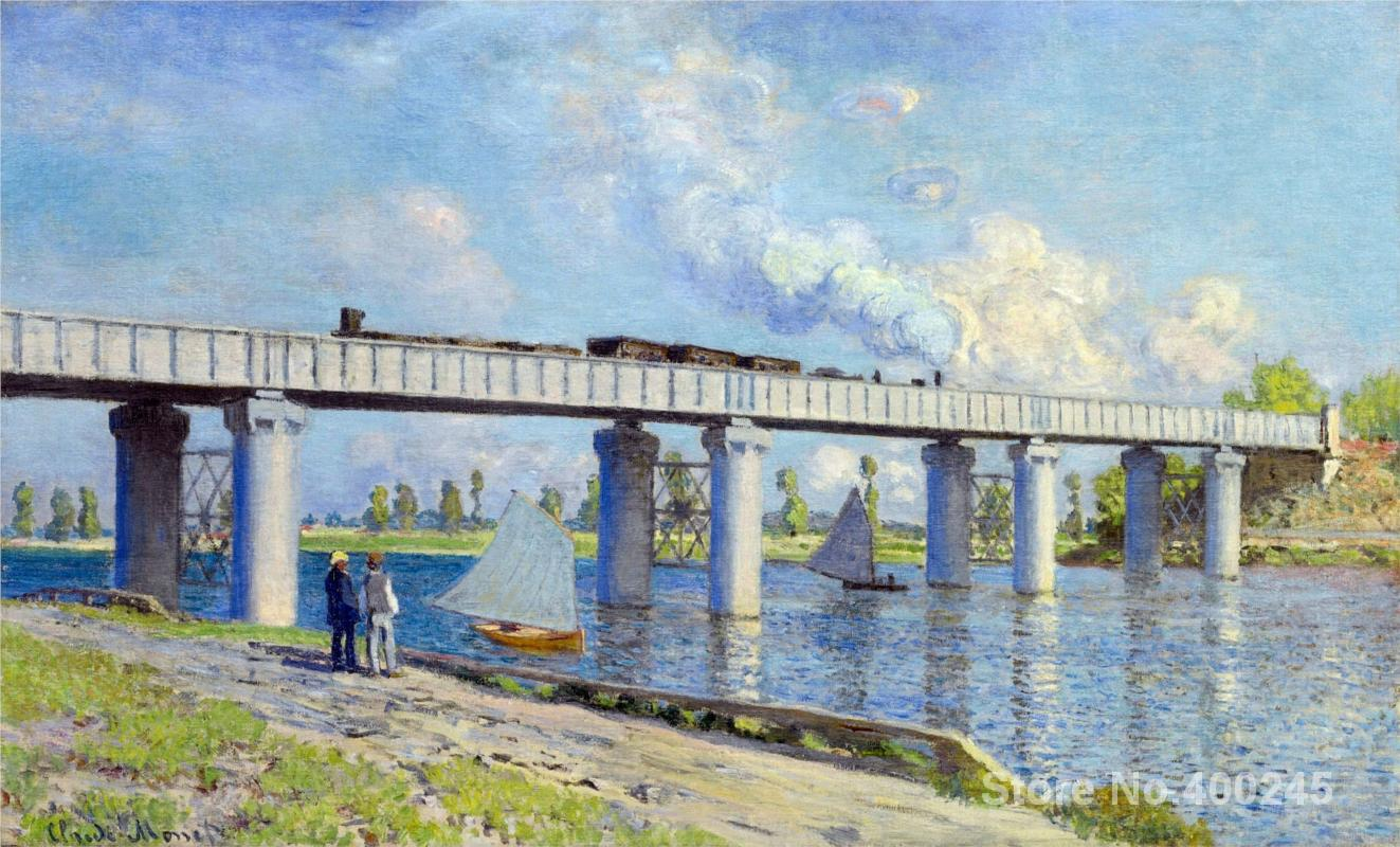 Art Gift Railway Bridge at Argenteuil Claude Monet Painting on Canvas High quality Hand painted